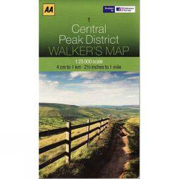 AA Maps Central Peak District Map 01 No Colour
