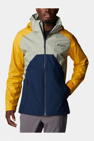 Columbia Mens Rain Scape Jacket Safari, Bright Gold, Navy
