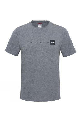 The North Face Mens Short Sleeve NSE Tee TNF Medium Grey Heather/TNF Red