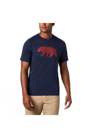 Columbia Mens Terra Vale™ II SS Tee Collegiate Navy, Grizzly Walk