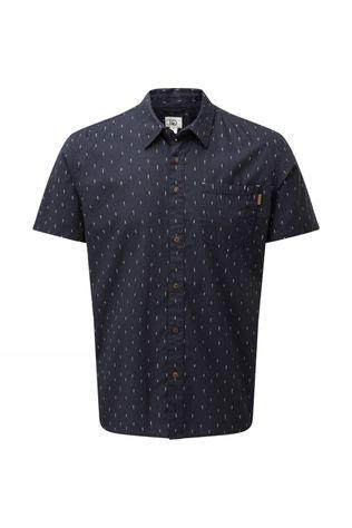 Tentree Mens Short Sleeve Button Up Shirt Dark Ocean Blue-Small Tree AOP