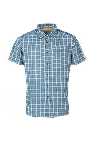 Ayacucho Mens Hiker II Stretch Anti Mosquito Short Sleeve Shirt Blue Check