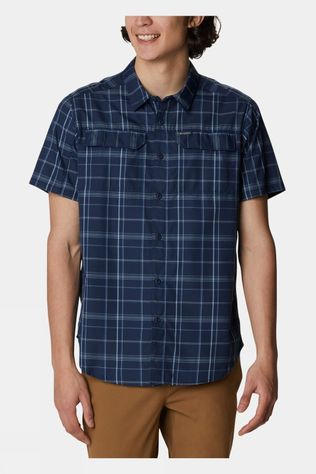 Columbia Mens Silver Ridge 2.0 Multi Plaid Short Sleeve Shirt Collegiate Navy