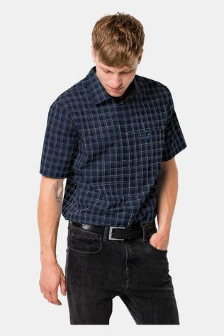 Jack Wolfskin Mens Hot Springs Shirt Night Blue Checks