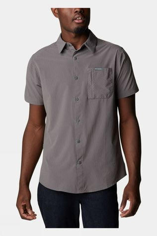 Columbia Mens Triple Canyon SS Shirt City Grey Hickory Stripe