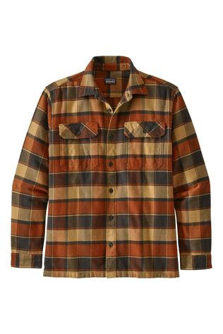 Patagonia Mens Long-Sleeved Fjord Flannel Shirt Burnished Red