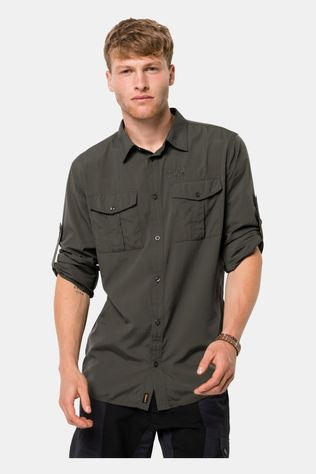 Jack Wolfskin Mens Atacama Roll-Up Shirt Dark Moss