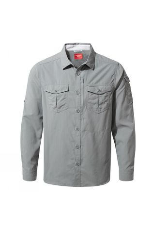 Craghoppers Mens NosiLife Adventure II Long Sleeved Shirt Cloud Grey