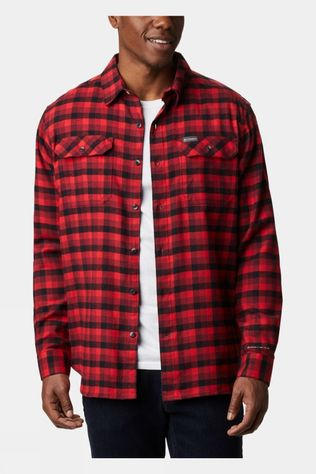 Columbia Mens Flare Gun Stretch Flannel Red Jasper Grid Plaid