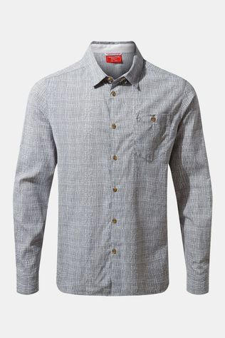 Craghoppers Mens NosiLife Lester Long Sleeve Shirt Cloud Grey Print