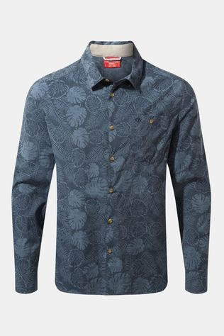 Craghoppers Mens NosiLife Lester Long Sleeve Shirt Steel Blue Print