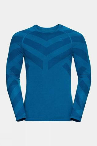 Odlo Mens Kinship Light Crew Neck Baselayer Long Sleeve Mykonos Blue Melange