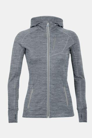 Icebreaker Womens Quantum Long Sleeve Zip Hood Gritstone Heather