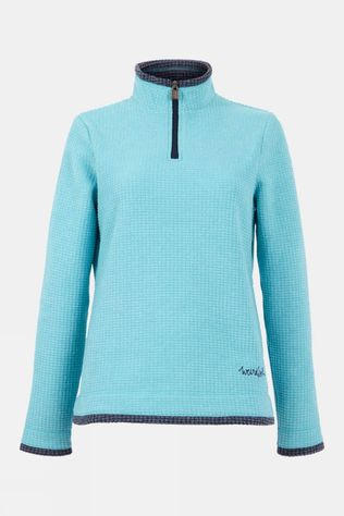 Weird Fish Womens Beyonce 1/4 Zip Grid Fleece Sky Blue