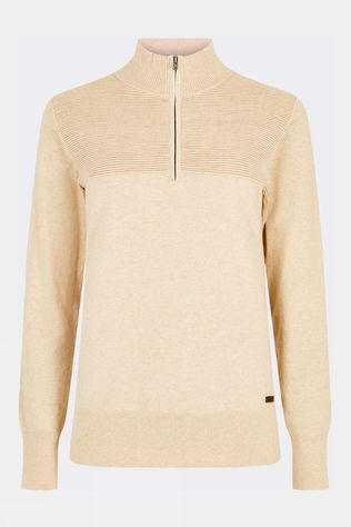 Dubarry Womens Carroll Quarter Zip Sweater Oyster