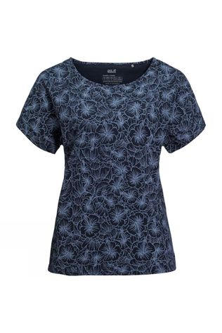 Jack Wolfskin Womens Hibiscus Flower Tee Midnight All Over Blue