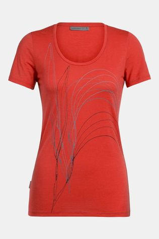 Icebreaker Womens Tech Lite Scoop Leaf T-Shirt Fire Leaf