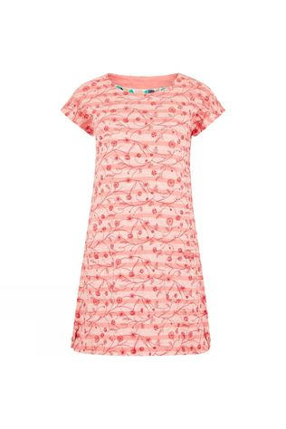 Weird Fish Womens Ashton Embroidered Stripe Tunic Pale Coral