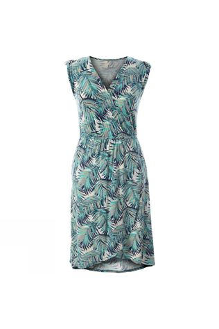 Royal Robbins Womens Noe Cross-Over Dress Aqua Print