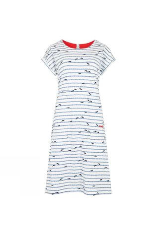 Weird Fish Womens Tallahassee Dress Light Cream- Dolpin Print