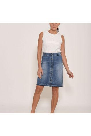 Brakeburn Womens Denim Skirt Navy