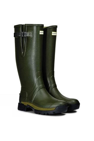 Hunter Balmoral II Side Adjustable 3mm Neoprene Wellington Boots Dark Olive