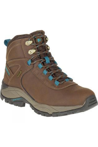 Merrell Womens Vego Mid Leather Waterproof Boot Dark Earth/Britanny Blue