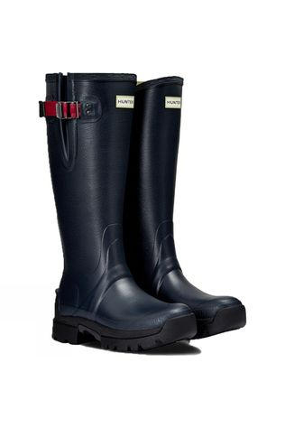 Hunter Womens Balmoral Side Adjustable 3mm NeopreneWellington Boots Navy/Peppercorn