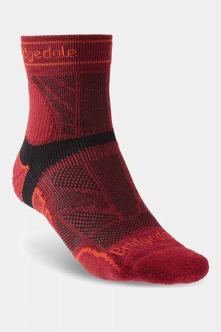 Bridgedale Mens Lightweight T2  Merino Sport 3/4 Crew Sock Red