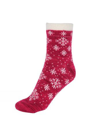 Yaktrax Womens Snowflake Cabin Socks Beet Red/Whisper White