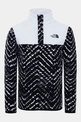 The North Face Youth Glacier 1/4 Snap Pullover Fleece TNF Black Shibori Chevron Print