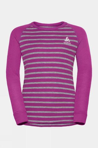Odlo Kids Active Warm Eco Long Sleeve Crew Neck 14+ Hyacinth Violet/Grey Melange Stripe