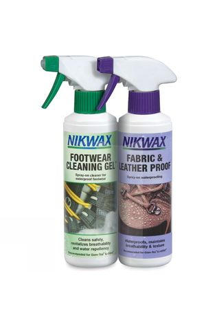 Nikwax Footwear Cleaning Gel Spray and Fabric & Leather Proof Spray 300ml No Colour