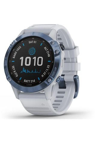 Garmin Fenix 6 Pro Solar Titanium Multisport GPS Watch Mineral Blue/Whitestone Band