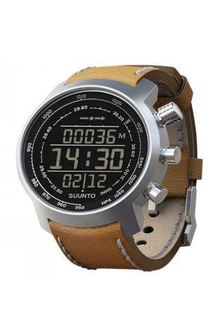 Suunto Elementum Terra Watch Silver/Negative Display/Brown Leather Strap