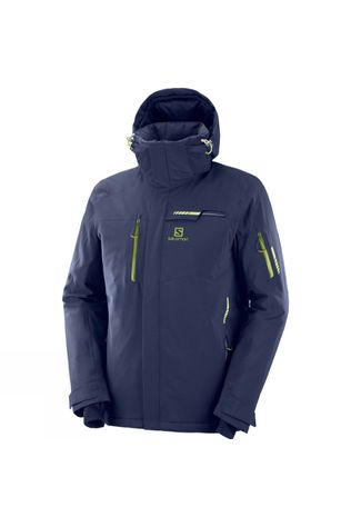 Salomon Mens Brilliant Ski Jacket Night Sky/Green Zip