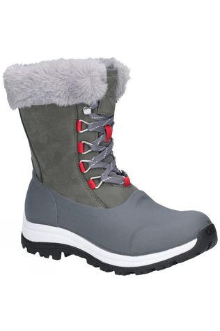 Muck Boot Womens Apres Lace Mid Boot Grey/Red