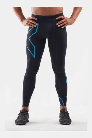 2XU Men's Light Speed Compression Tights Black/Ultra Aqua Reflective