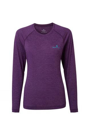Ronhill Womens Momentum Long Sleeve Tee Blackberry Marl/Aquamint