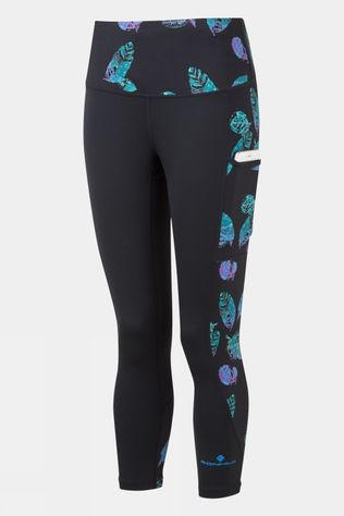 Ronhill Womens Life Sculpt Crop Tight Black/Legion Blue Leaf