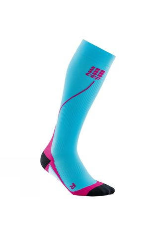 CEP  Womens Compression Run Socks Turquoise/Mid Pink