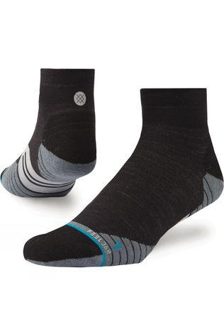 Stance Mens Uncommon Solids Wool QTR Socks Charcoal