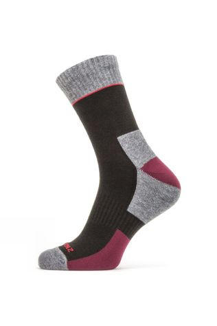 SealSkinz Mens Solo QuickDry Ankle Length Sock Mid Grey/red