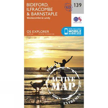 Active Explorer Map 139 Bideford, Ilfracombe and Barnstaple