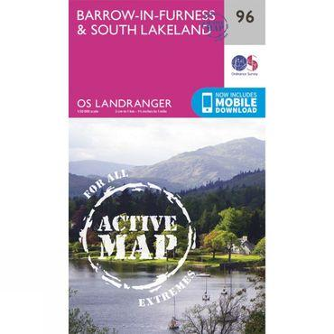 Active Landranger Map 96 Barrow-in-Furness and South Lakeland