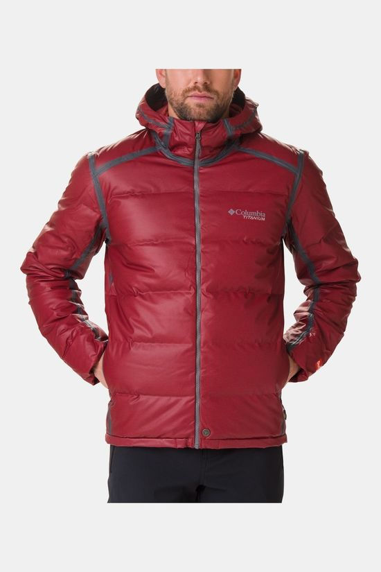 Columbia Mens OutDry Ex Alta Peak Down Jacket Red Jasper Heather