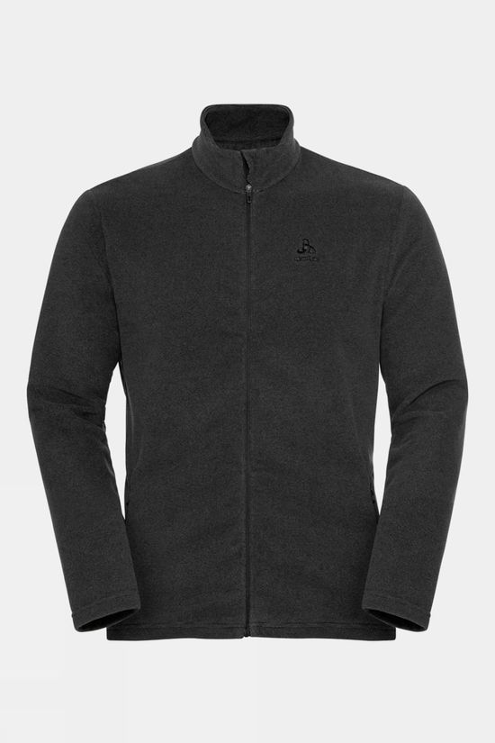 Odlo Mens Roy Full-Zip Midlayer Top Shale Grey - Black Stripes