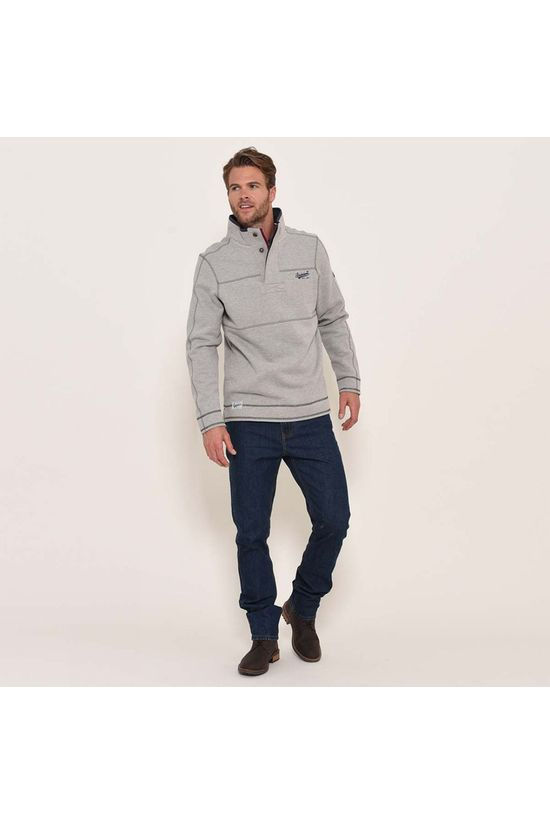 Brakeburn Button neck sweat Grey Marl