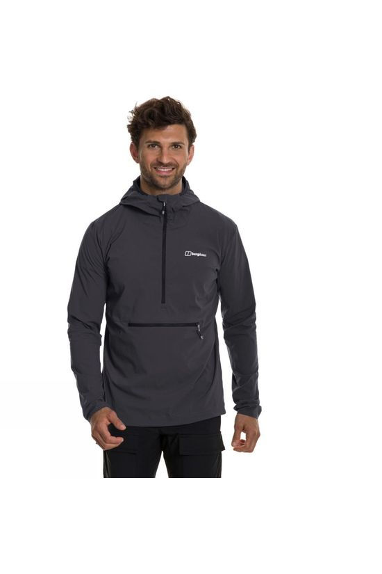 Berghaus Mens Theran Softshell Hooded Half Zip Grey Pinstripe