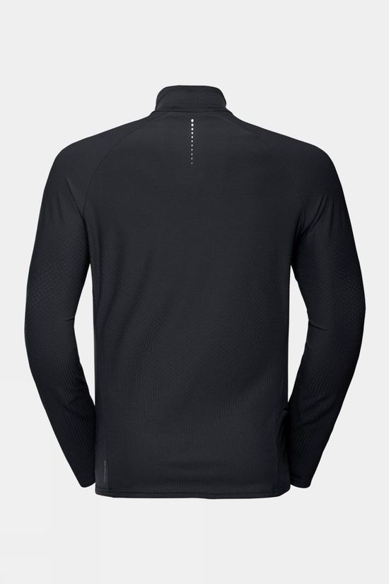 Odlo Mens Zeroweight Ceramiwarm Half-Zip Long-Sleeve Midlayer Top Black